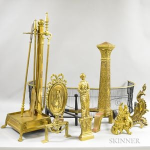 Group of Brass and Iron Fireplace Accessories.