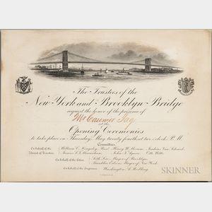 Brooklyn Bridge, Opening Ceremonies Invitation, 24 May 1883.