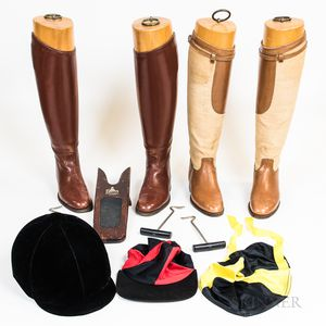Two Pairs of Schneider Riding Boots, a Boot Bag, and a Riding Helmet