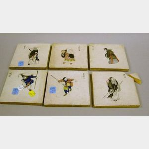 Six Dutch Glazed Pottery Tiles Decorated with Japanese Figures.