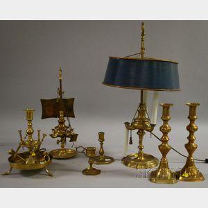 Eight Brass Table Lighting Items
