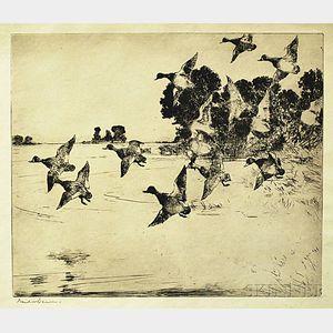 Frank Weston Benson (American, 1862-1951)      The Passing Flock
