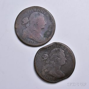Two 1805 Draped Bust Large Cents