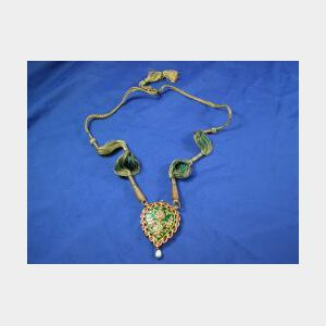 Indian Gem-set and Enamel Pendant Necklace
