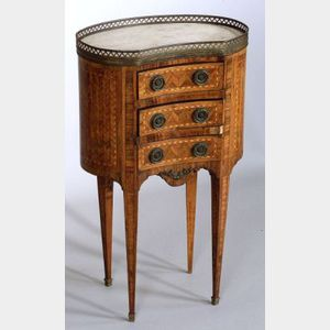 Louis XVI Style Parquetry Inlaid Marble-top Kidney-Shaped Side Table