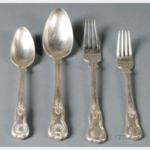 """Assembled Group of Chinese Export """"Kings"""" Pattern Flatware"""