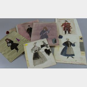 Group of Unframed 1950s-60s Broadway Production Costume Designs by Motley