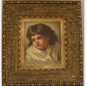 Framed American 19th/20th Century Oil on Canvas Portrait of a Child