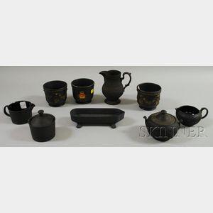 Nine Mostly Wedgwood Black Basalt Items