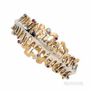 Erich Strotmann 18kt Gold, Ruby, and Diamond Bracelet