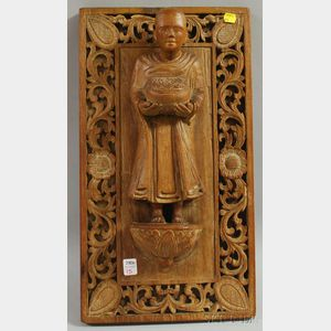 Carved Wooden Wall Plaque of a Monk