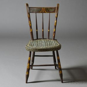 """Paint-decorated """"Misses"""" Bamboo-turned Sewing Chair"""