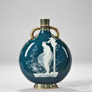 Mintons Louis Solon Decorated Pate-sur-Pate Porcelain Pilgrim Vase