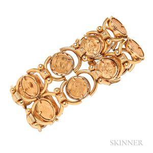 18kt Gold and 2 1/2 Pesos Coin Bracelet