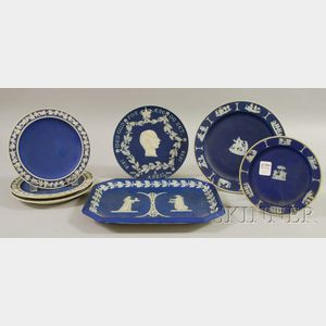 Seven Wedgwood Dark Blue Jasper Dip Dishes and Plaques