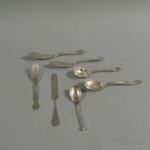 Seven Small Silver Flatware Serving Items