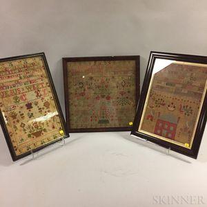 Three Framed 19th Century Samplers