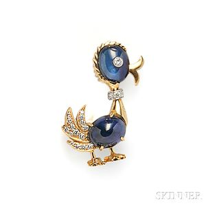 18kt Gold, Sapphire, and Diamond Duck Brooch, Aletto Bros.