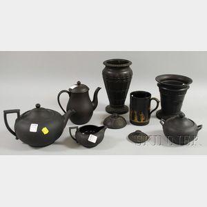 Seven Wedgwood Black Basalt Table Items