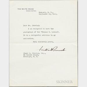 Roosevelt, Franklin Delano (1882-1945) Typed Letter Signed, Newport, Rhode Island, 15 September 1934.