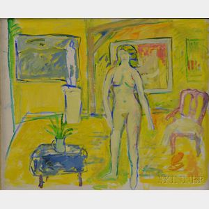American School, 20th Century      Yellow Interior with Standing Nude