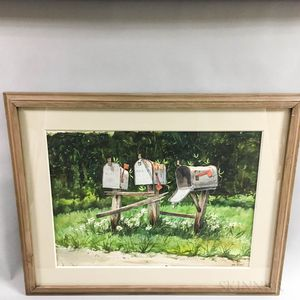 Framed Tom Bond (American, 20th Century) Watercolor Depicting Mailboxes