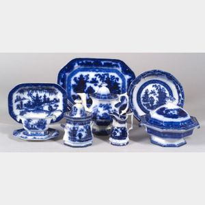 Approximately Sixty-eight Flow Blue Dinner Service Items