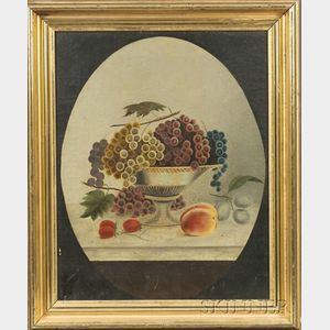 American School, 19th Century    Still Life with Fruit in a Compote in the Style of Severin Roesen.