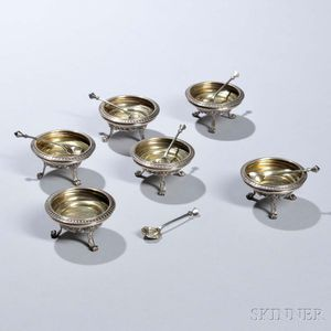 Six Victorian Sterling Silver Salt Cellars and Spoons