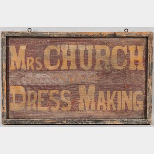 "Painted and Stenciled ""Mrs. Church/Dress Making"" Trade Sign"