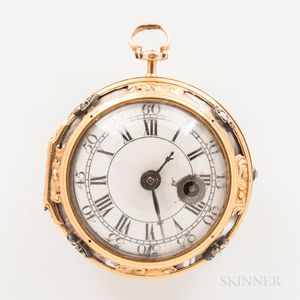 F. Engui Gold, Diamond, and Agate Cased Watch