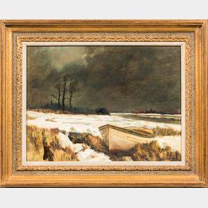 Frank Handlen (American, b. 1916)      Dinghy in an Icy Marsh