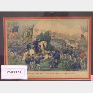 Framed Currier & Ives Death of General Lyons and Genl. Meagher at the Battle of Fair Oaks, VA. June 1st 1862 Prints.