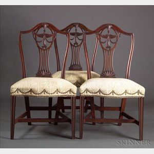 Three Federal Mahogany Carved Side Chairs