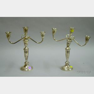 Pair of Towle Three-Light Sterling Silver Candelabra