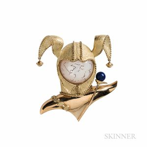 Chaumet 18kt Gold, Mother-of-pearl, and Lapis Harlequin Brooch