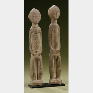 "African Carved Wood Male and Female ""Spirit"" Couple"