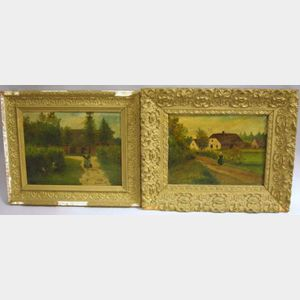 Two Framed European School Farm Scenes