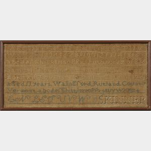 Rutland County, Vermont, Needlework Family Register Sampler