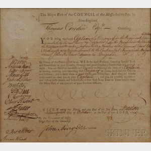 Cowdin, Thomas (1754-1835) Document, Signed, Continental Army.