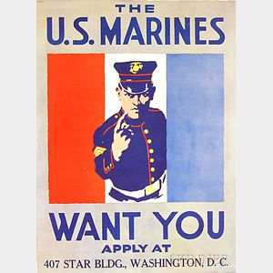 The U.S. Marines Want You   U.S. WWI Lithograph Poster