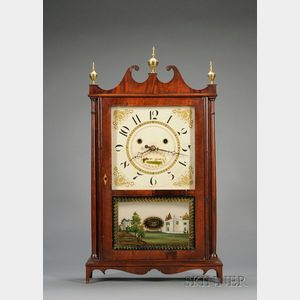 Mahogany Pillar and Scroll Clock by Silas Hoadley