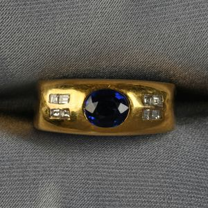 18kt Gold, Sapphire, and Diamond Ring, Cartier