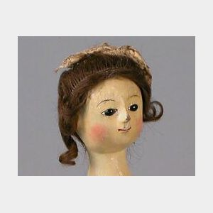 """Early """"Queen Anne"""" Wooden Lady Doll"""