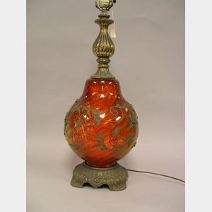 Ruby Glass and Metal Lamp Base.