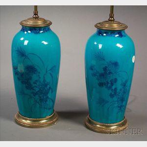 Pair of Turquoise Glazed Earthenware Vases