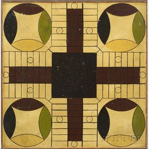 Polychrome Painted Parcheesi Game Board