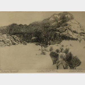 Framed Etching Winter West Rock