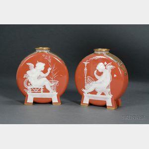 Pair of Mintons Louis Solon Decorated Pate-Sur-Pate Moon Vases