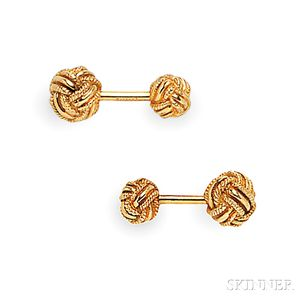 18kt Gold Knot Cuff Links, Schlumberger, Tiffany & Co.